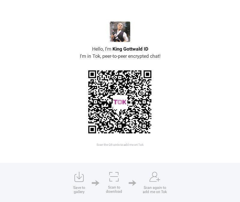 King Gottwald Peter ID's on TOK Encrypted Messenger